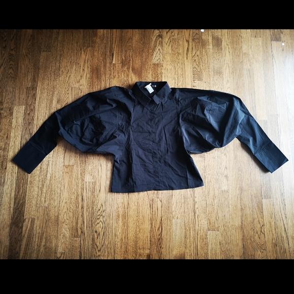 Nasty Gal Black Extreme Sleeve Shirt 8 NWT